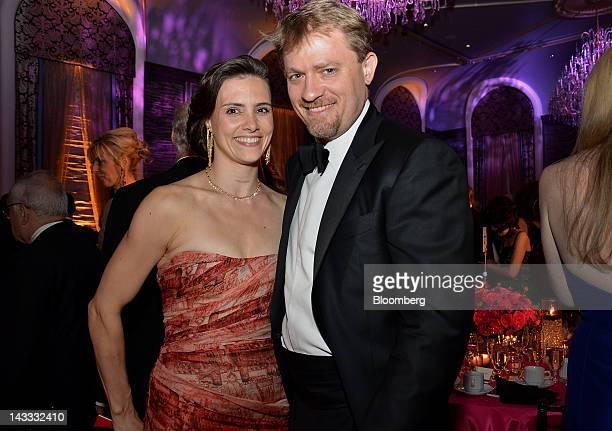 Daniel Ziff hedge fund manager for Ziff Brothers Investments and wife Leslie Ziff stand for a photograph during an event honoring New York Times...