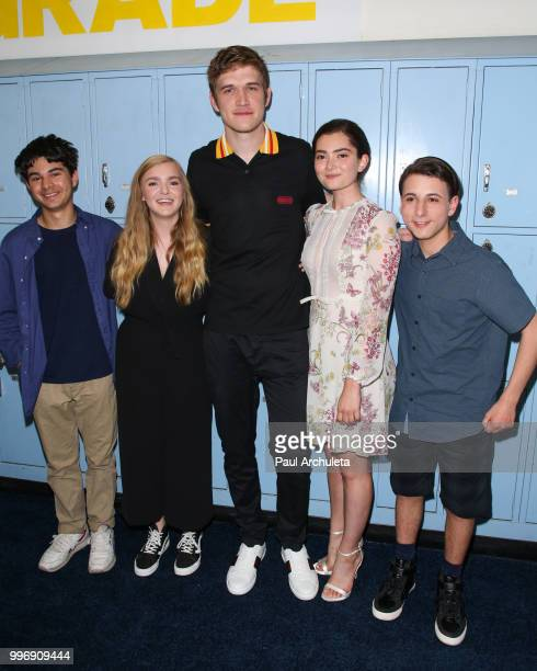 Daniel Zolghadri Elsie Fisher Bo Burnham Emily Robinson and Jake Ryan attend the screening of A24's 'Eighth Grade' at Le Conte Middle School on July...