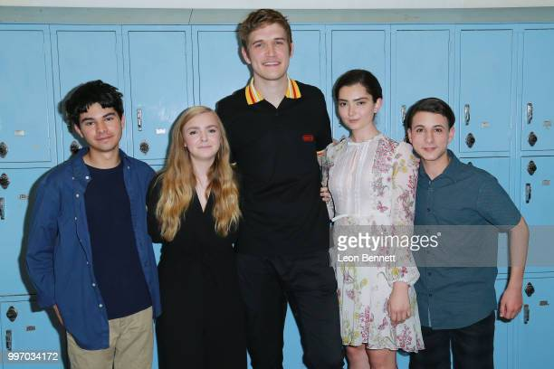 Daniel Zolghadri Elsie Fisher Bo Burnham Emily Robinson and Jake Ryan attend the Screening Of A24's 'Eighth Grade' Arrivals at Le Conte Middle School...