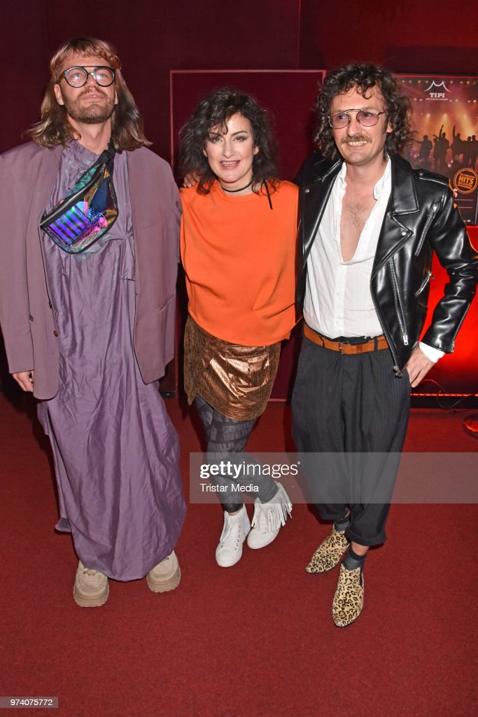 Daniel Zuewerink, Cora Frost and Benjamin Klunker attend the premiere of 'Dee Frost Welt - Lieder' at Tipi am Kanzleramt on June 13, 2018 in Berlin, Germany.