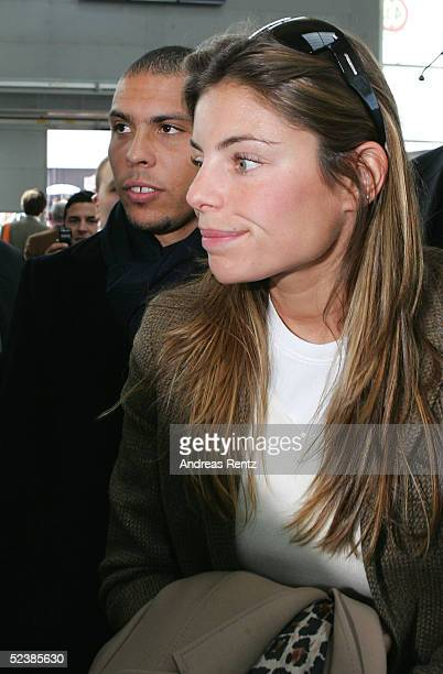 Daniela and Brasilian football player, Ronaldo , attend the CeBIT technology trade fair March 14, 2005 in Hanover, Germany. CeBIT, the biggest...