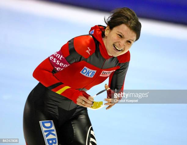 Daniela Anschuetz-Thoms of Germany smiles after winning the 1500 meter women of the Essent ISU European Speed Skating Championships at the Thialf Ice...