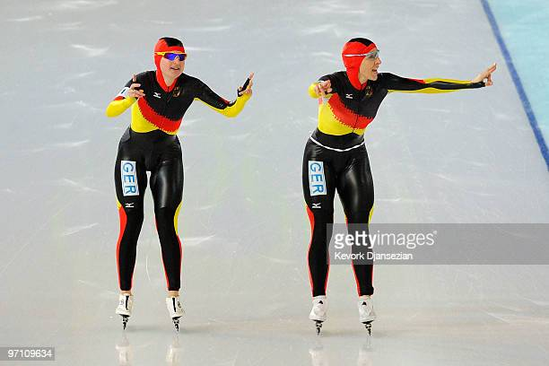 Daniela Anschutz Thoms and Anna FriesingerPostma of team Germany celebrate in the Ladies' Team Pursuit Speed Skating QuarterFinals on day 15 of the...