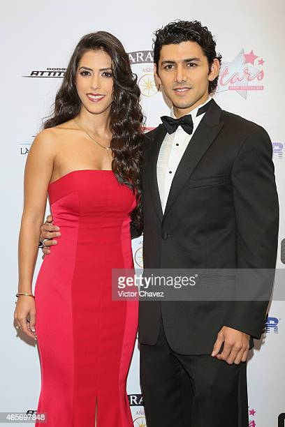 Daniela Basso and Miguel Martinez arrive at Premios TV y Novelas 2015 at Televisa San Angel on March 9 2015 in Mexico City Mexico