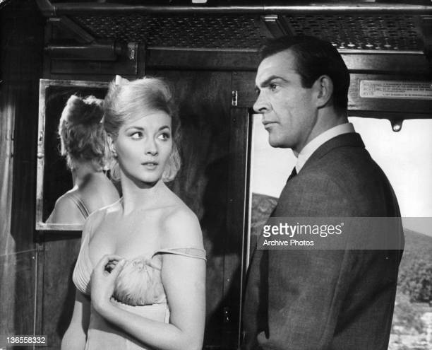 Daniela Bianchi and Sean Connery in a cargo train in a scene from the film 'James Bond From Russia With Love' 1963