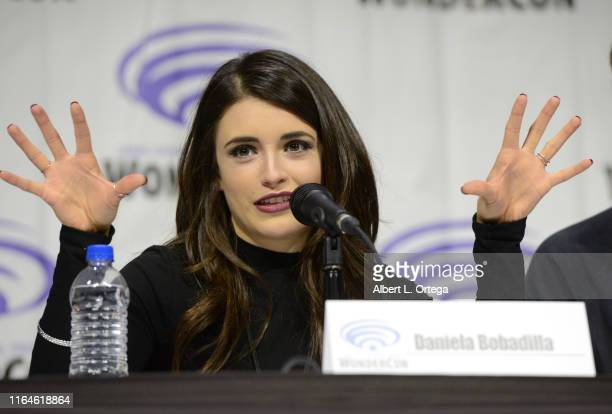 Daniela Bobadilla talks onstage to promote Warner Bros Animation's 'Justice League Vs The Fatal Five' at WonderCon 2019 on Day 1 held at Anaheim...