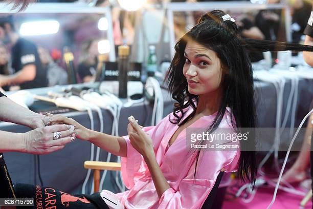 Daniela Braga has her Hair Makeup done prior the 2016 Victoria's Secret Fashion Show on November 30 2016 in Paris France