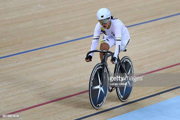 Daniela Carolina Munevar of Colombia competes in the Women's C123 500m Time Trial on day 3 of the Rio 2016 Paralympics at Rio Olympic Velodrome on...