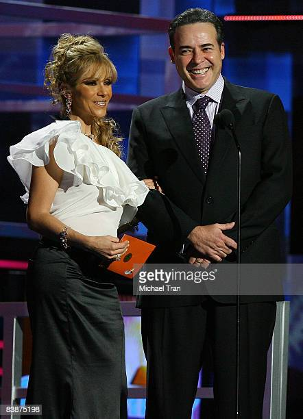 Daniela Castro and Cesar Evora present onstage during the 9th annual Latin GRAMMY awards held at the Toyota Center on November 13 2008 in Houston...