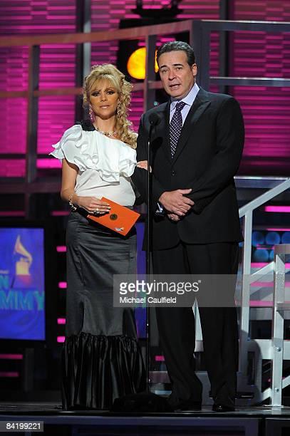 Daniela Castro and Cesar Evora speak at the 9th Annual Latin GRAMMY Awards held at the Toyota Center on November 13 2008 in Houston Texas