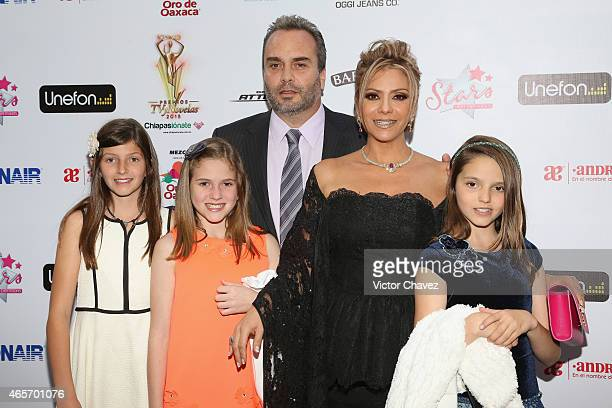 Daniela Castro and family arrive at Premios TV y Novelas 2015 at Televisa San Angel on March 9 2015 in Mexico City Mexico