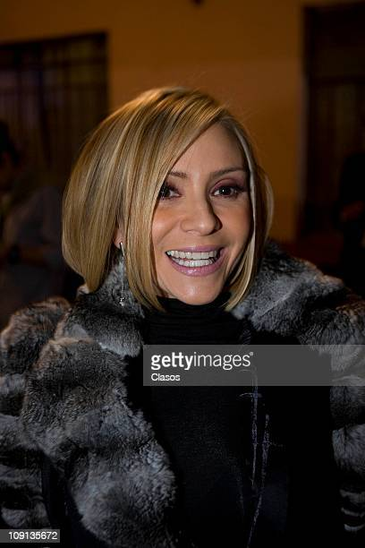Daniela Castro attends a meeting with the cast to watch the first chapter of the soap opera Una Familia con Suerte on February 14 2011 in Mexico City...