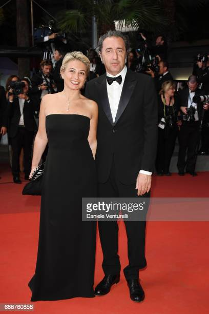Daniela D'Antonio and Paolo Sorrentino attend the 'In The Fade ' screening during the 70th annual Cannes Film Festival at Palais des Festivals on May...