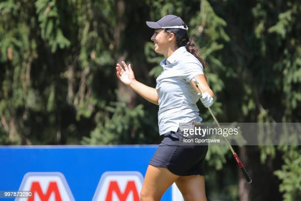Daniela Darquea of Ecuador reacts to scoring a holeinone on the sixth hole during the second round of the LPGA Marathon Classic presented by Owens...