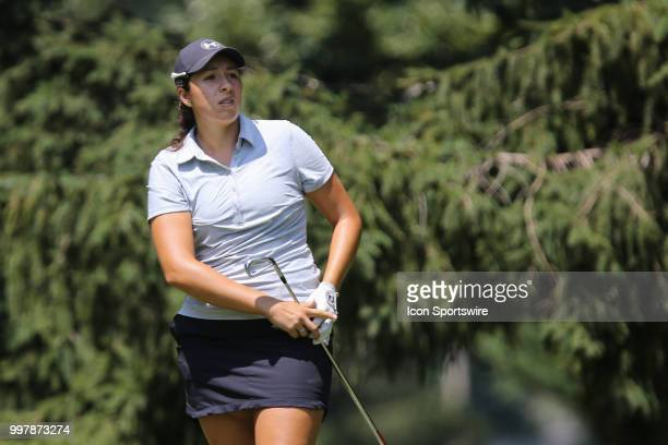 Daniela Darquea of Ecuador watches her tee shot on the sixth hole during the second round of the LPGA Marathon Classic presented by Owens Corning and...