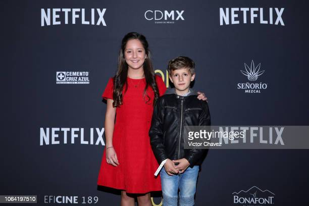 Daniela Demesa and Marco Graf pose during the red carpet and screening of Alfonso Cuarón and Netflix film 'Roma' at Cineteca National on November 21...