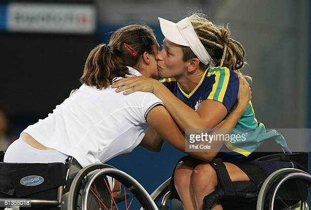 Daniela Di Toro of Australia wins Bronze Medal against Florence Gravellier of France during the Athens 2004 Paralympic Games September 24 2004 at the...