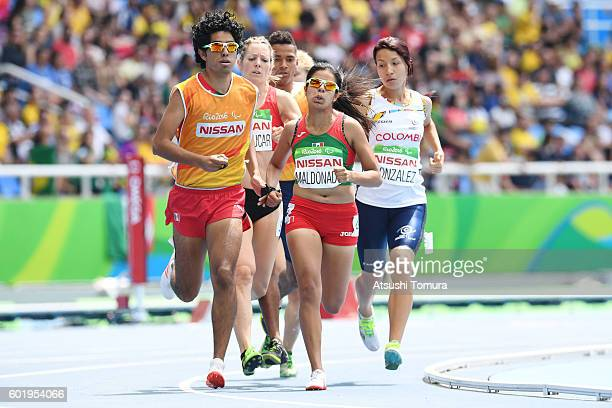 Daniela Eugenia Velasco Maldonado of Mexico competes in the women's 1500m T13 on day 3 of the Rio 2016 Paralympic Games at the Olympic stadium on...