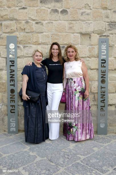 Daniela Fedi Anne de Carbuccia and Anna Pascucci attend One Planet One Future Cocktail Party on June 22 2018 in Naples Italy