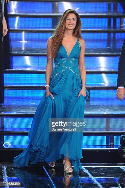 Daniela Ferolla attends the 2011 Miss Italia beauty pageant at the Palazzetto of Montecatini on September 19 2011 in Montecatini Terme Italy