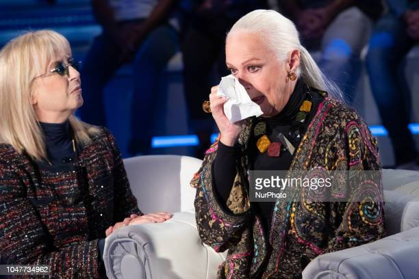 Daniela Goggi and Loretta Goggi attend 'Domenica In' TV show at the Studio RAI Fabrizio Frizzi in Rome Italy on October 7 2018