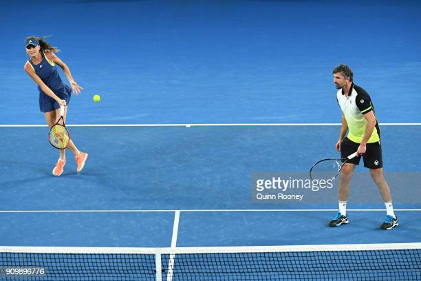 Daniela Hantuchova and Goran Ivanisevic of Croatia compete in their Legends Mixed doubles match against Mark Philippoussis of Australia and Alicia...