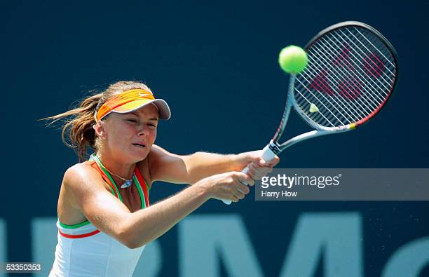 Daniela Hantuchova of Slovakia chases a backhand against Angela Haynes of the U.S. During the J.P. Morgan Chase Open at the Home Depot Center August...