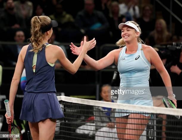 Daniela Hantuchova of Slovakia congratulates CoCo Vandeweghe during the Tie Break Tens at Madison Square Garden on March 5 2018 in New York City