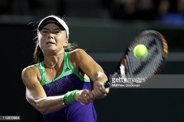 Daniela Hantuchova of Slovakia hits a backhand return against Caroline Wozniacki of Denmark during the Sony Ericsson Open at Crandon Park Tennis...