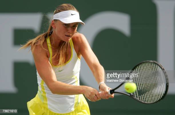 Daniela Hantuchova of Slovakia hits a backhand to Svetlana Kuznetsova of Russia in the final of the Pacific Life Open on March 17 2007 at the Indian...
