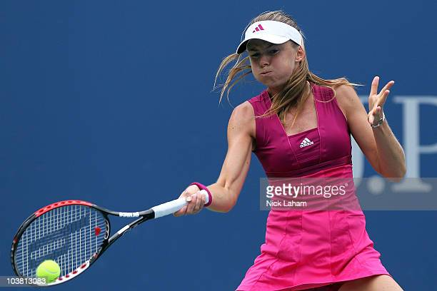 Daniela Hantuchova of Slovakia hits a forehand return against Elena Dementieva of Russia during her women's singles match on day five of the 2010 US...