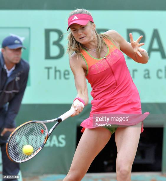 Daniela Hantuchova of Slovakia in action against Caroline Wozniacki of Denmark in their Women's Singles Third Round match during the French Open...