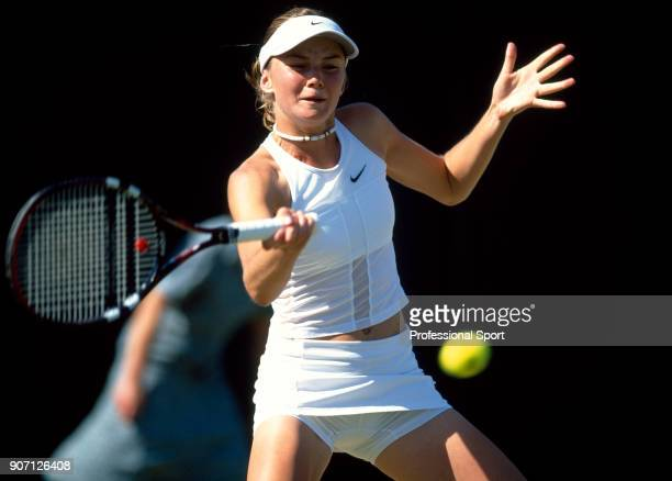Daniela Hantuchova of Slovakia in action during the Wimbledon Lawn Tennis Championships at the All England Lawn Tennis and Croquet Club circa June...