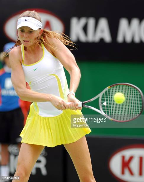 JANUARY 18 Daniela Hantuchova of Slovakia in action on Day 4 of the Australian Open at Melbourne Park on January 18 2007