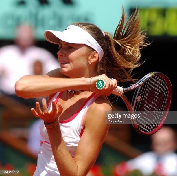 Daniela Hantuchova of Slovakia in action on day seven of the French Open at Roland Garros Stadium in Paris on June 3 2006