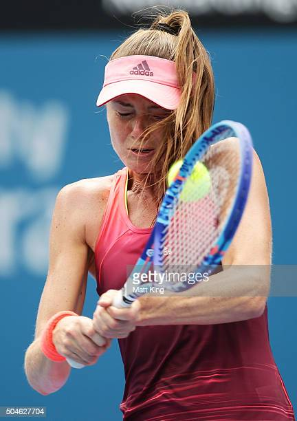 Daniela Hantuchova of Slovakia is hit in the face by the ball while playing a backhand in her match against Samantha Stosur of Australia during day...