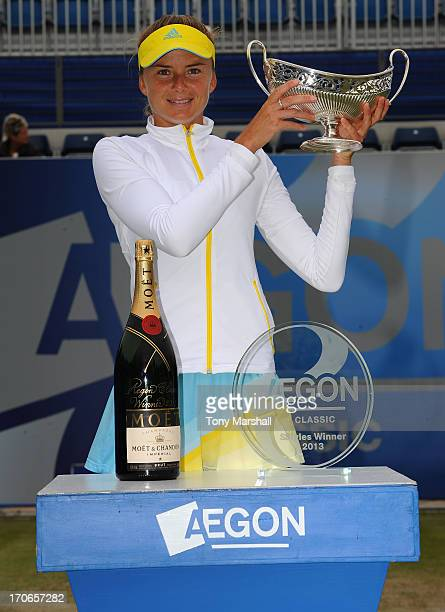 Daniela Hantuchova of Slovakia lifts the Maud Watson Trophy after winning the Final against Donna Vekic of Croatia during the AEGON Classic Tennis...