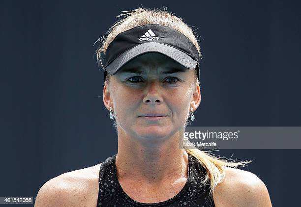 Daniela Hantuchova of Slovakia looks on during her second round match against Zarina Diyas of Kazakhstan during day five of the Hobart International...