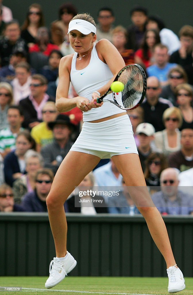 Daniela Hantuchova of Slovakia plays a backhand during the Women's Singles fourth round match against Serena Williams of USA during day seven of the Wimbledon Lawn Tennis Championships at the All England Lawn Tennis and Croquet Club on July 2, 2007 in London, England.