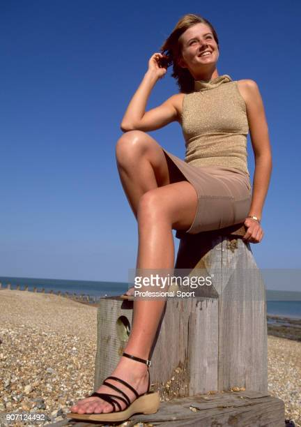 Daniela Hantuchova of Slovakia poses for a photoshoot on the beach during the Britannic Asset Management International Tennis Championships at...
