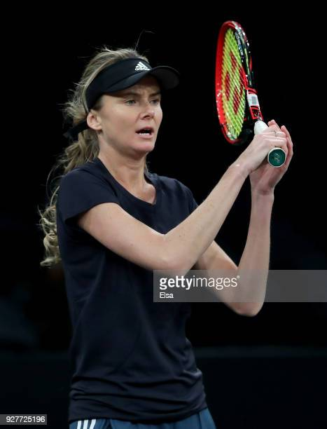 Daniela Hantuchova of Slovakia practices during the Tie Break Tens at Madison Square Garden on March 5 2018 in New York City