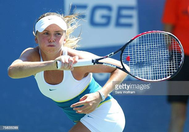 Daniela Hantuchova of Slovakia returns a shot against Olga Govortsova of Belarus during the quarterfinals of women's singles at the Bank of the West...
