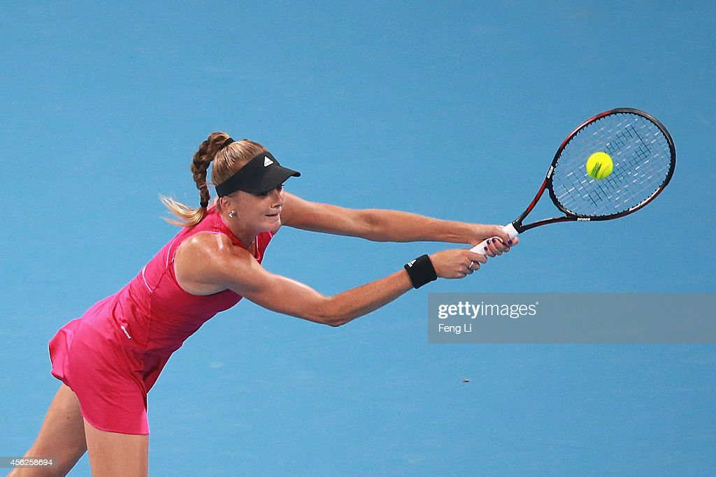 Daniela Hantuchova of Slovakia returns a shot against Svetlana Kuznetsova of Russia during day two of the China Open at the China National Tennis Center on September 28, 2014 in Beijing, China.