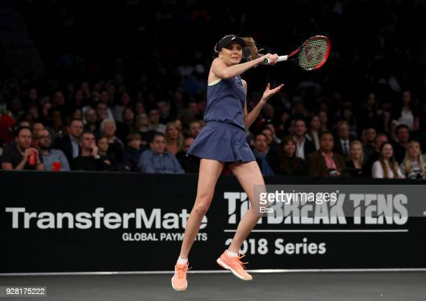 Daniela Hantuchova of Slovakia returns a shot to CoCo Vandeweghe of the United States during the Tie Break Tens at Madison Square Garden on March 5...