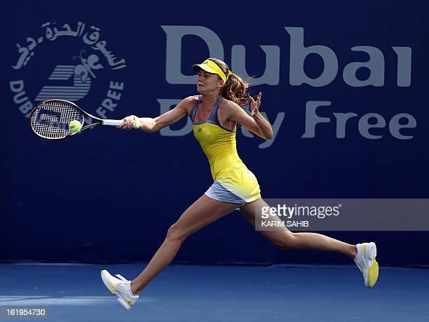 Daniela Hantuchova of Slovakia returns the ball to Spain's Carla Suarez Navarro during the WTA Dubai Open tennis Championship in the Gulf emirate on...