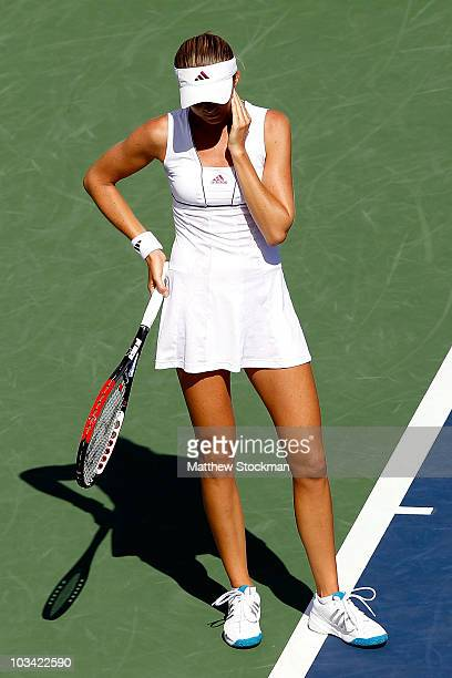 Daniela Hantuchova of Slovakia rreacts to a lost point against Flavia Pennetta of Italy during the Rogers Cup at Stade Uniprix on August 17 2010 in...