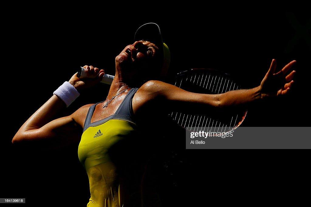 Daniela Hantuchova of Slovakia serves a shot to Tsvetana Pironkova of Bulgaria during Day 3 of the Sony Open at the Crandon Park Tennis Center on March 20, 2013 in Key Biscayne, Florida.