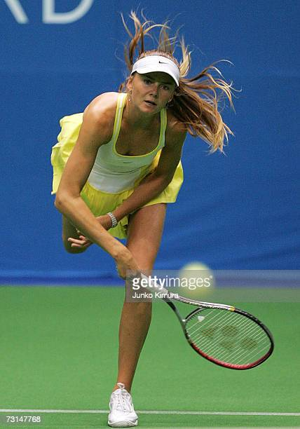 Daniela Hantuchova of Slovakia serves against Roberta Vinci of Italy during the Toray Pan Pacific Open Tennis Tournament January 30 2007 in Tokyo...