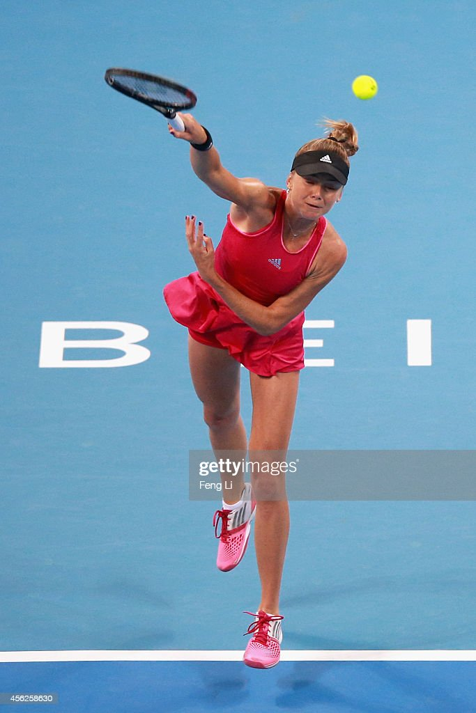 Daniela Hantuchova of Slovakia serves against Svetlana Kuznetsova of Russia during day two of the China Open at the China National Tennis Center on September 28, 2014 in Beijing, China.