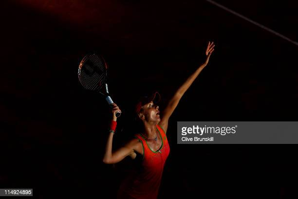 Daniela Hantuchova of Slovakia serves during the women's singles round four match between Daniela Hantuchova of Slovakia and Svetlana Kuznetsova of...